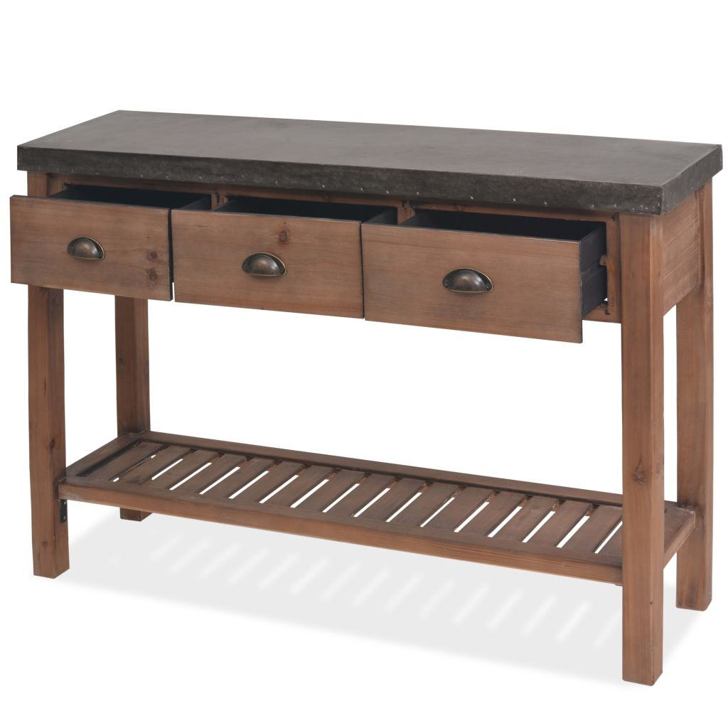 Console Table Solid Fir Wood 122x35x80 cm 5