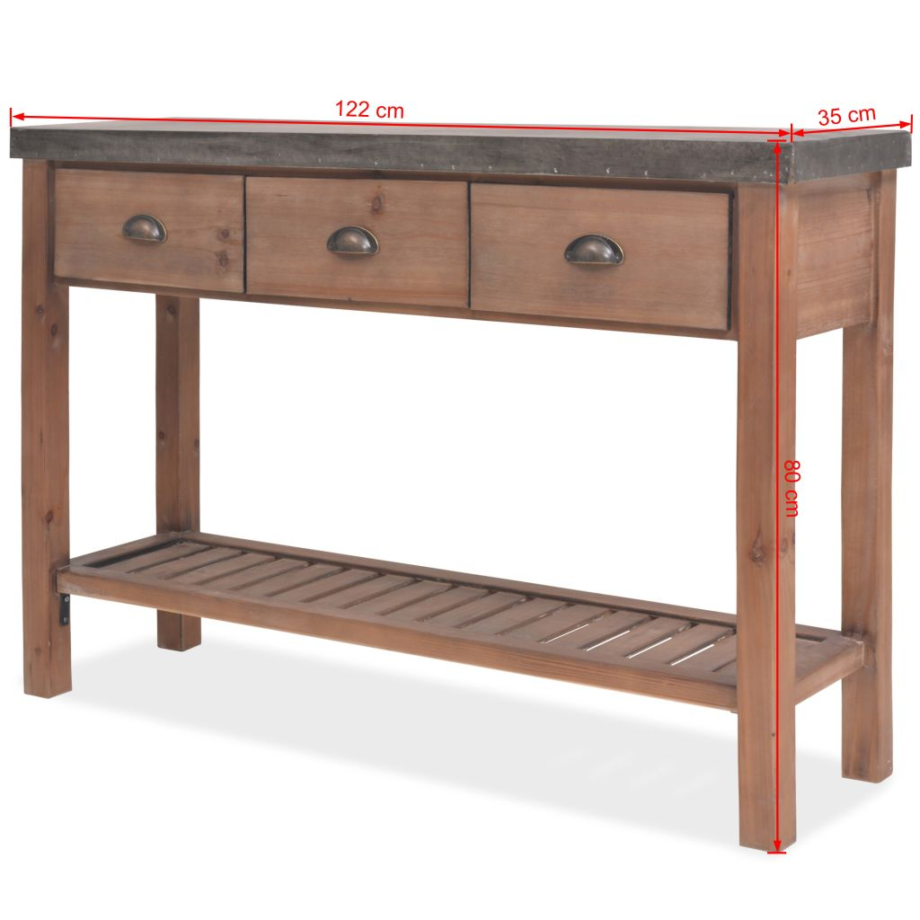 Console Table Solid Fir Wood 122x35x80 cm 10