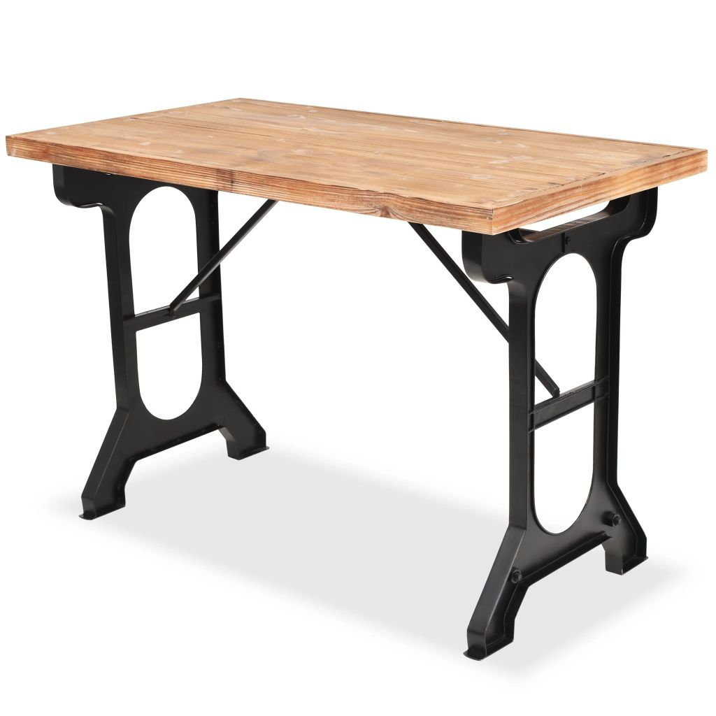 Dining Table Solid Fir Wood Top 122x65x82 cm 1