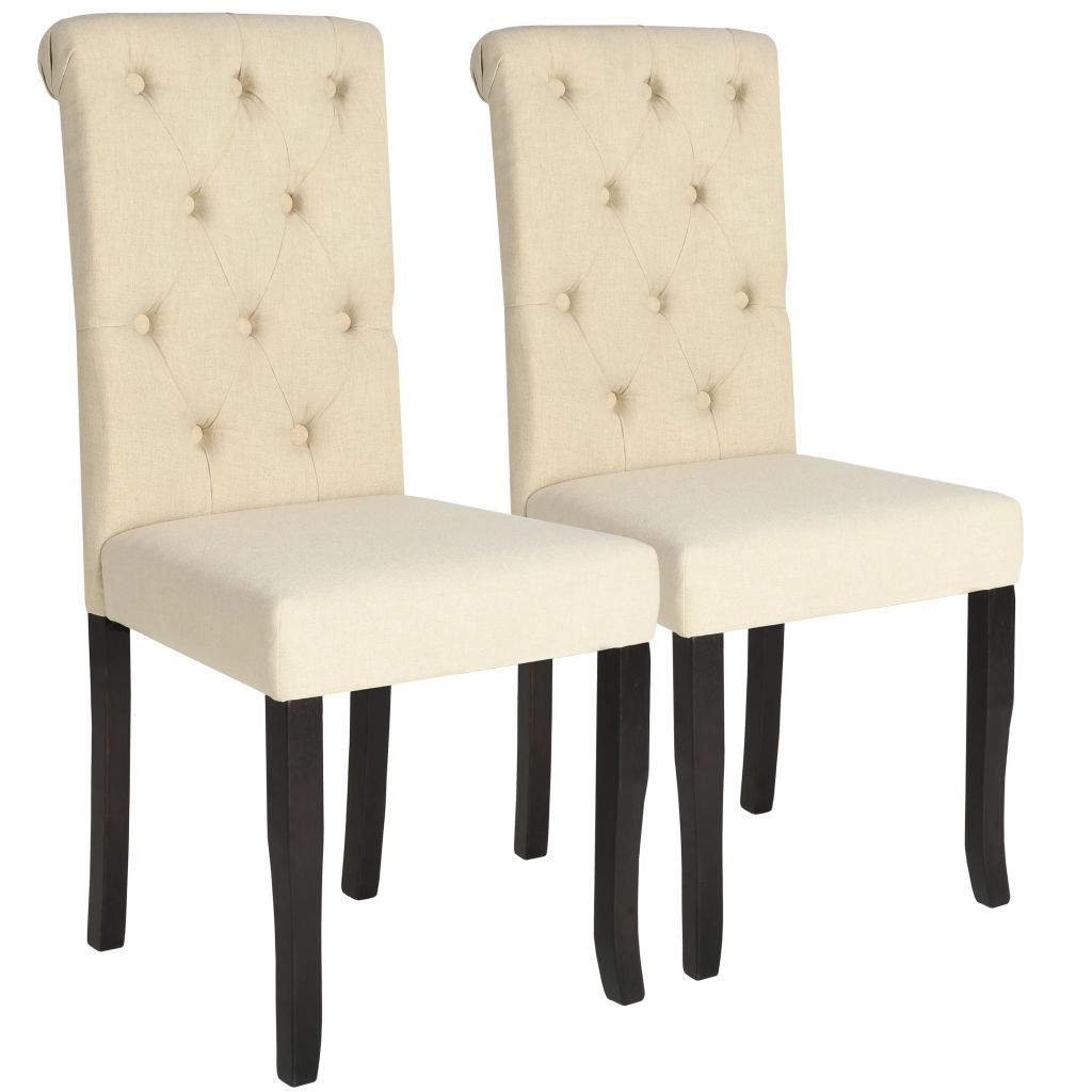 Dining Chairs 2 pcs Cream Fabric