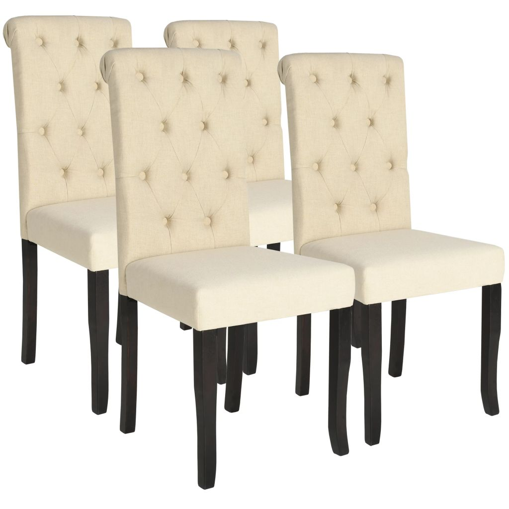 Dining Chairs 4 pcs Cream Fabric 1