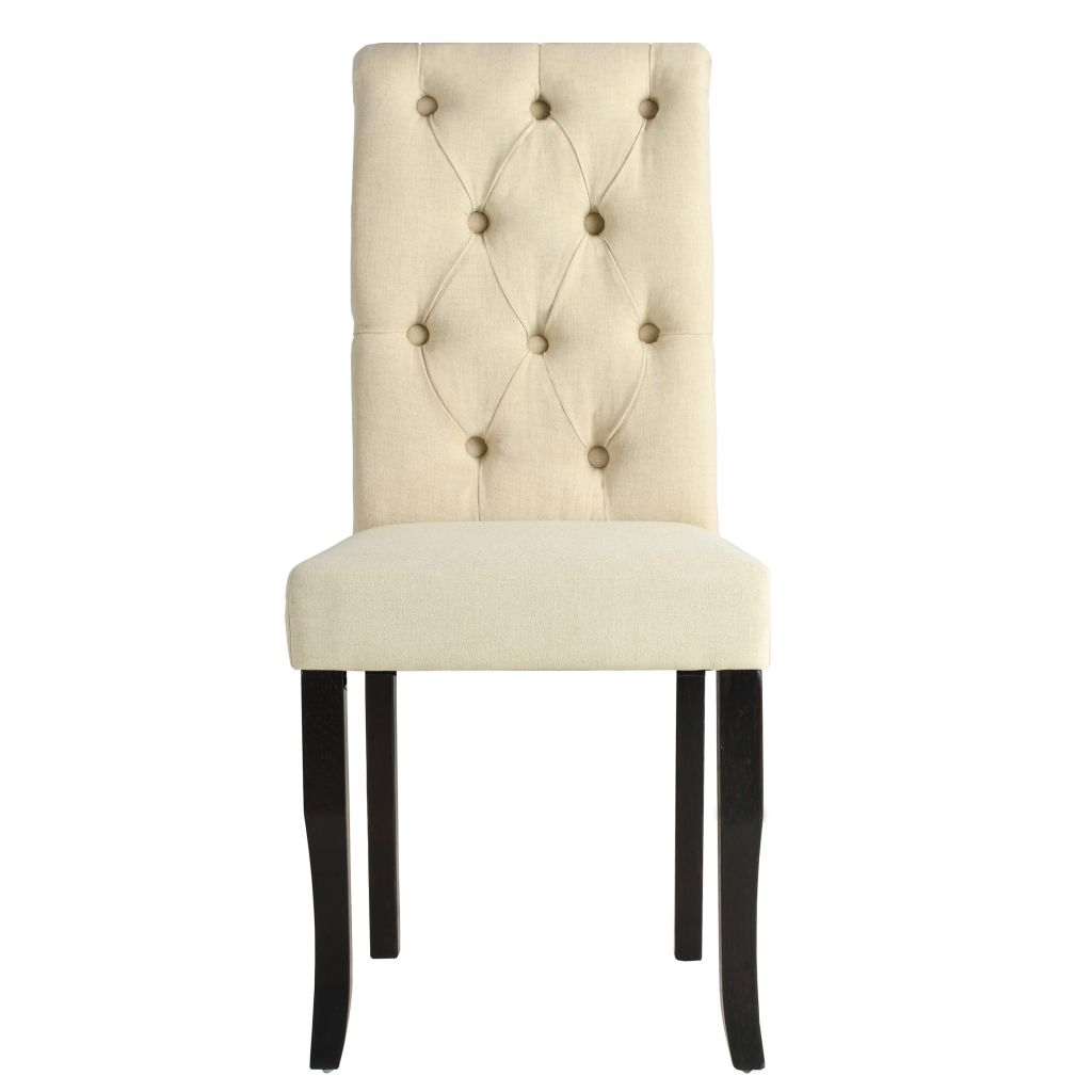 Dining Chairs 4 pcs Cream Fabric 3