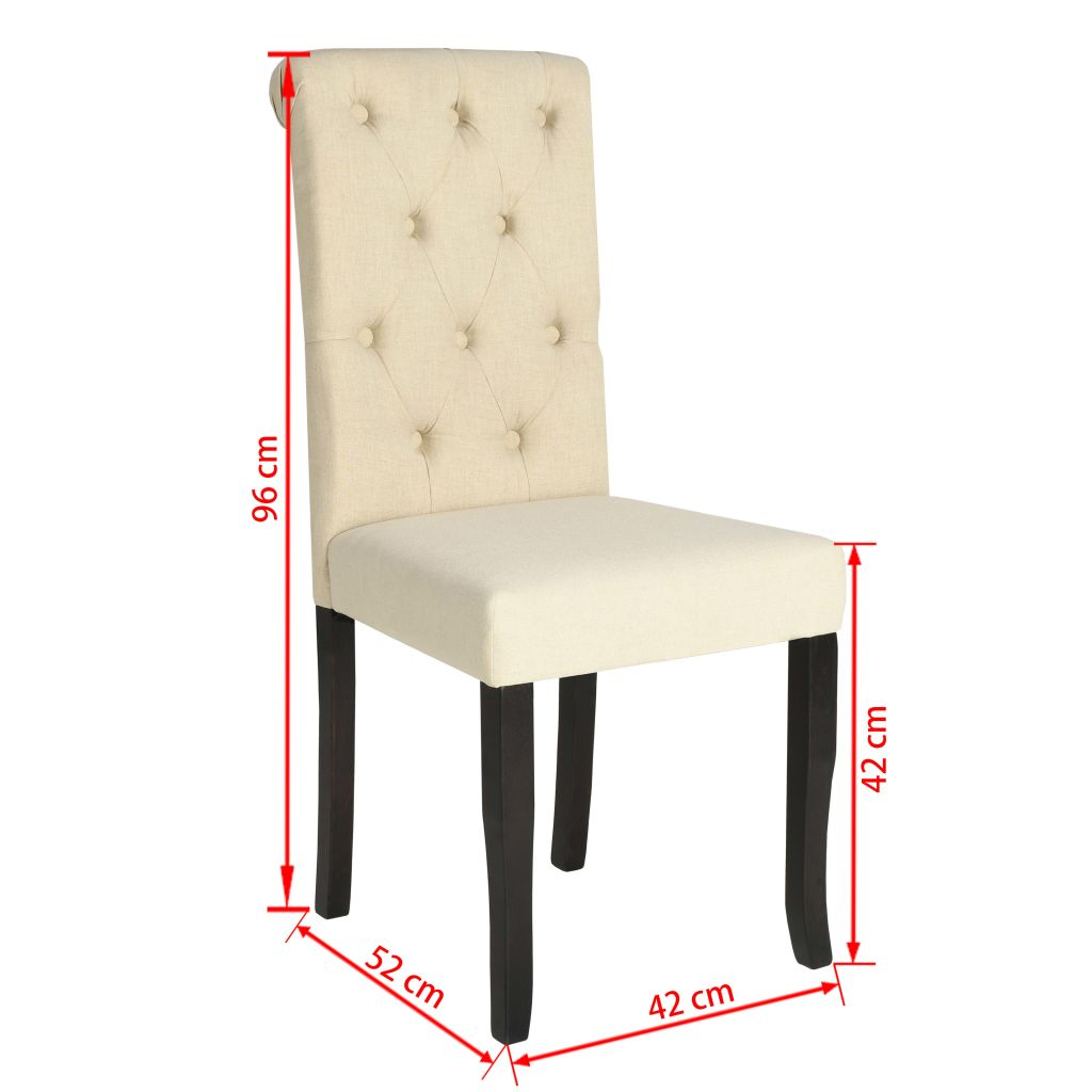 Dining Chairs 4 pcs Cream Fabric 7