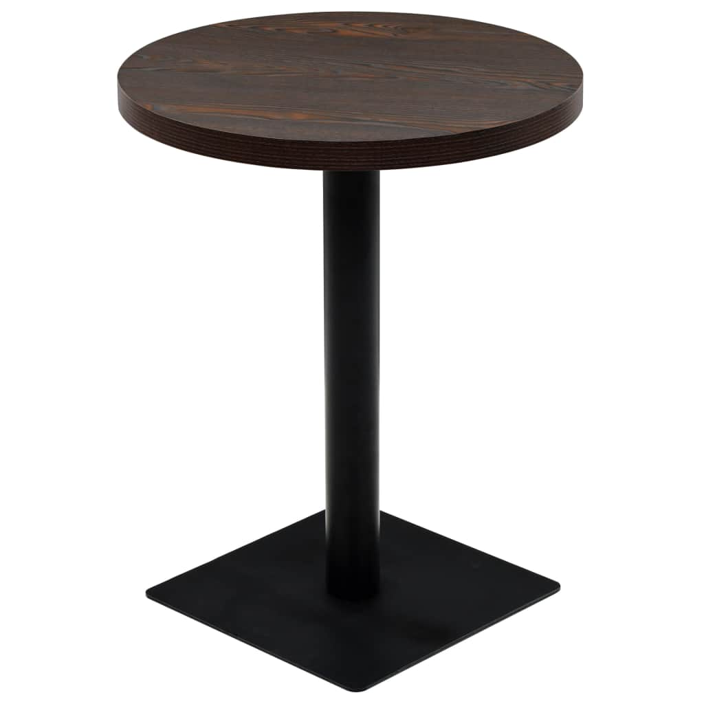 Bistro Table MDF and Steel Round 60x75 cm Dark Ash