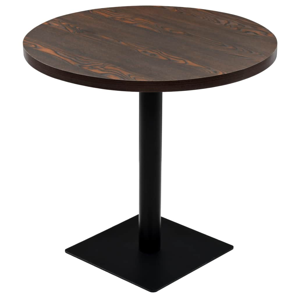 Bistro Table MDF and Steel Round 80×75 cm Dark Ash 1