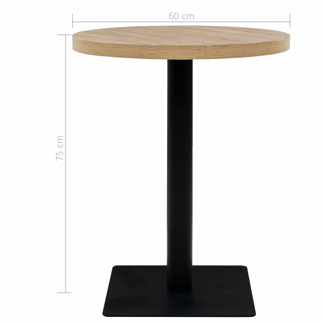 Bistro Table MDF and Steel Round 60×75 cm Oak Colour 6