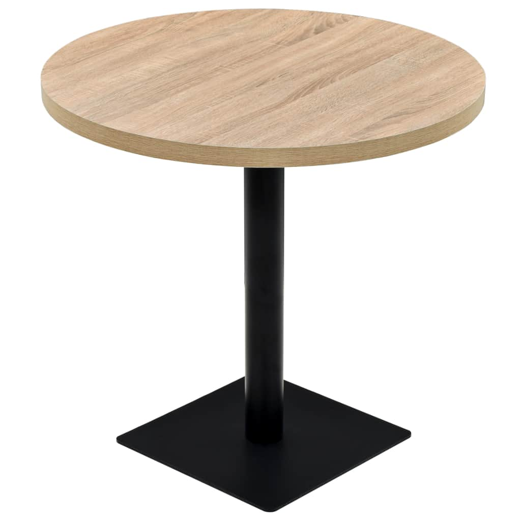 Bistro Table MDF and Steel Round 80×75 cm Oak Colour 1