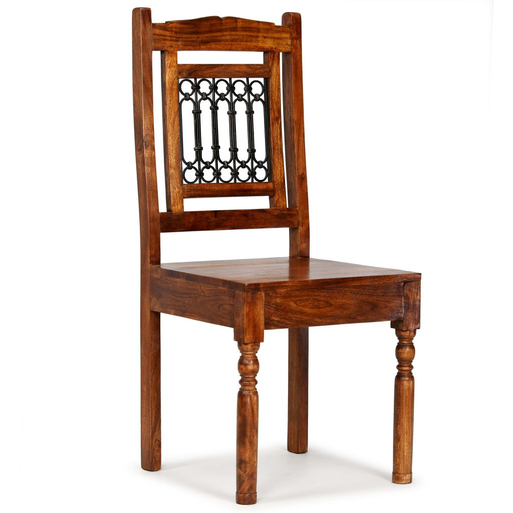 Dining Chairs 2 pcs Solid Wood with Sheesham Finish Classic 7