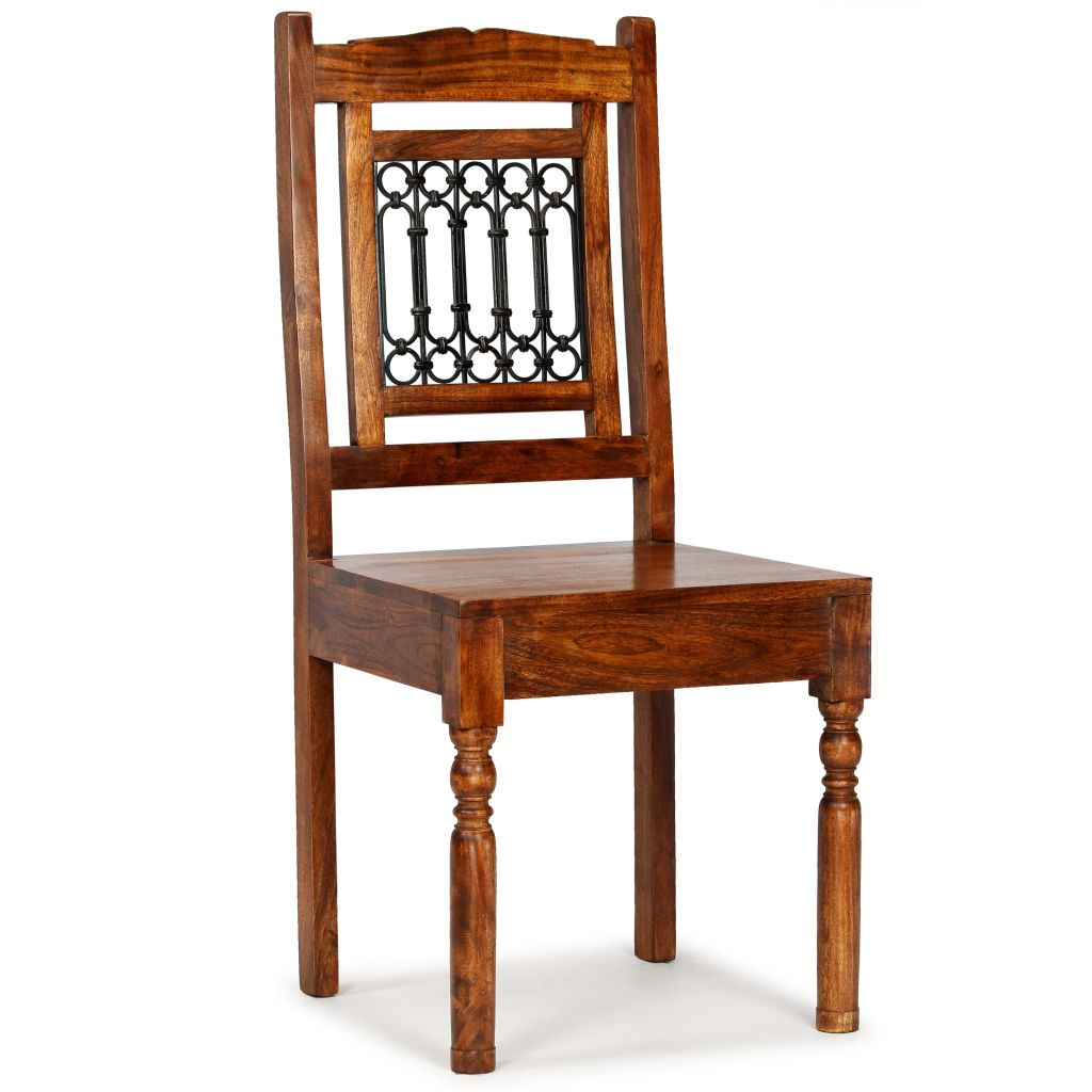 Dining Chairs 2 pcs Solid Wood with Sheesham Finish Classic 9