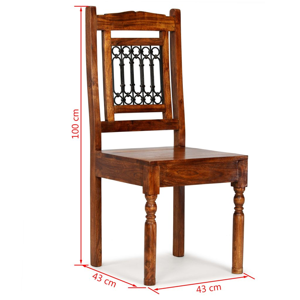 Dining Chairs 2 pcs Solid Wood with Sheesham Finish Classic 10