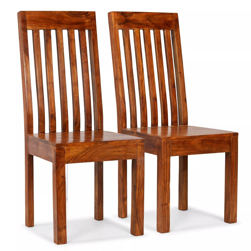 Dining Chairs 2 pcs Solid Wood with Sheesham Finish Modern 1