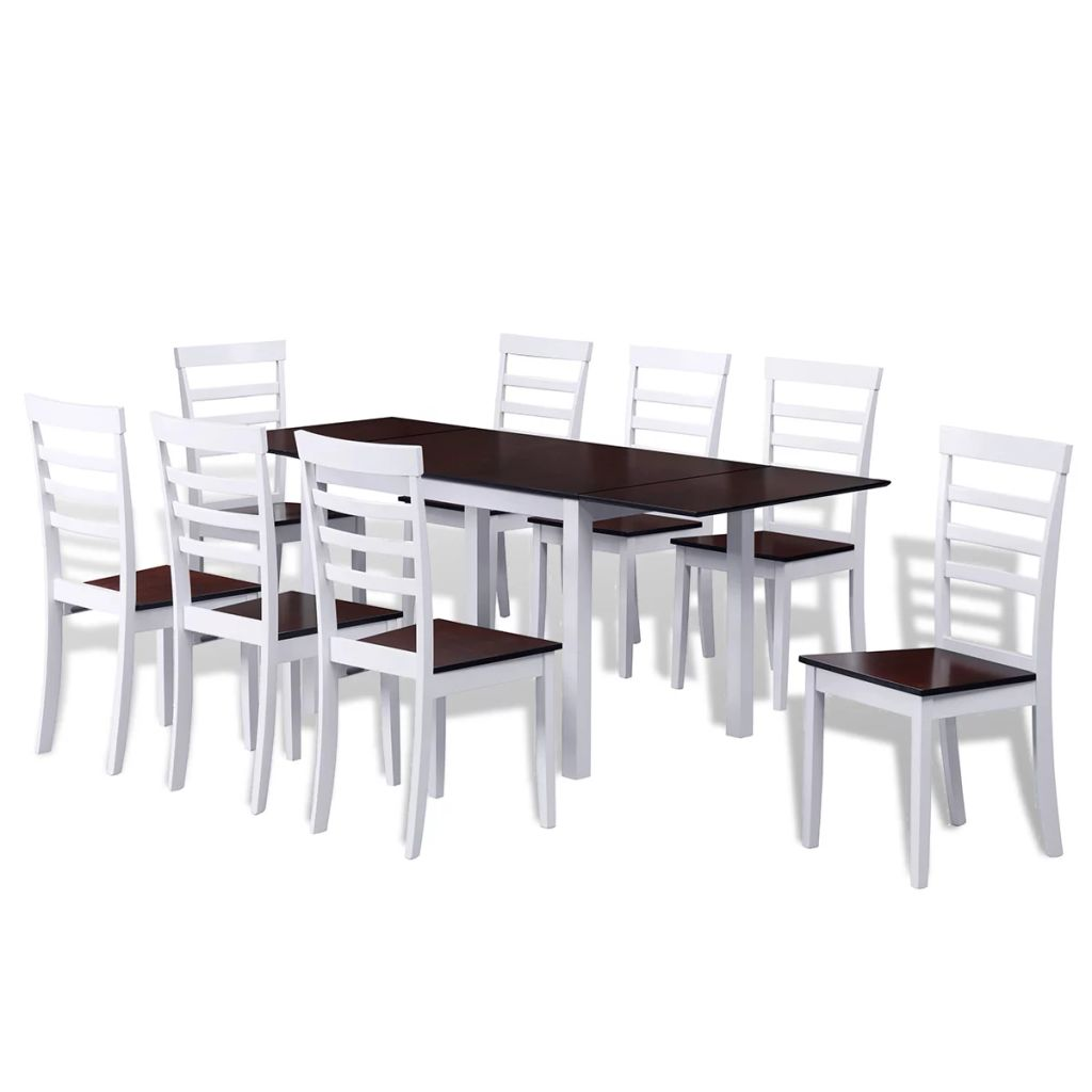 Extending Dining Set 9 Pieces Brown and White 1