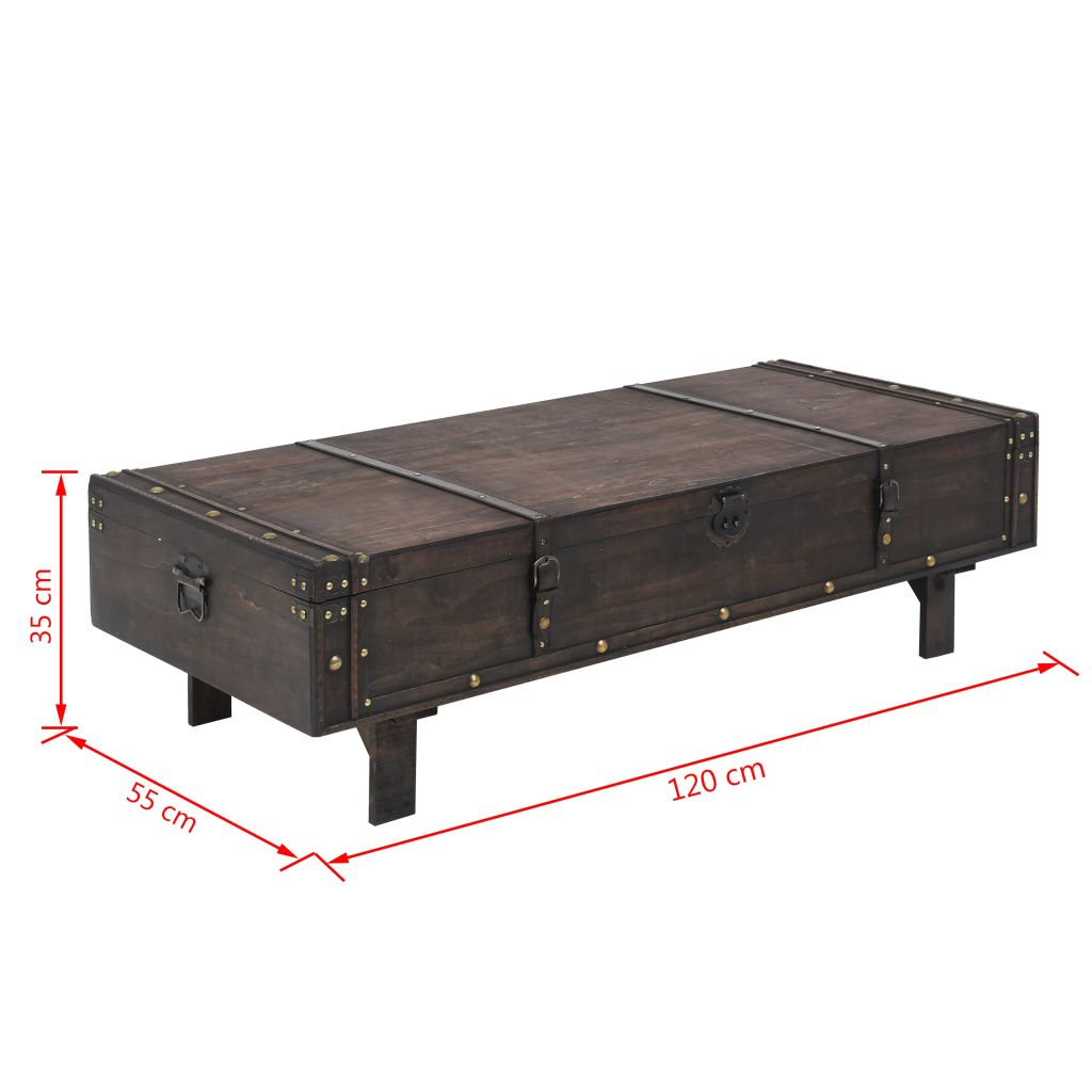 Coffee Table Solid Wood Vintage Style 120x55x35 cm 8