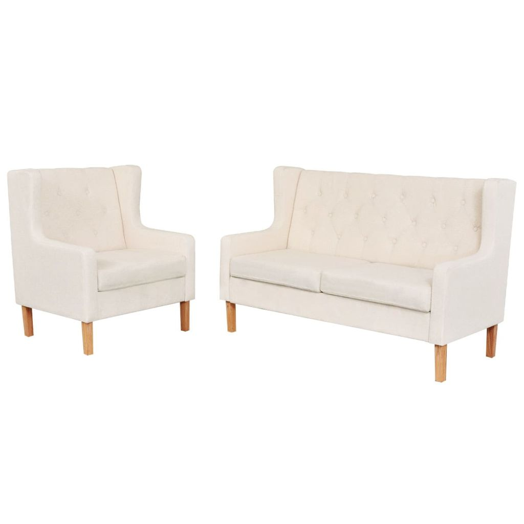 Sofa Set 2 Pieces Fabric Cream White 1