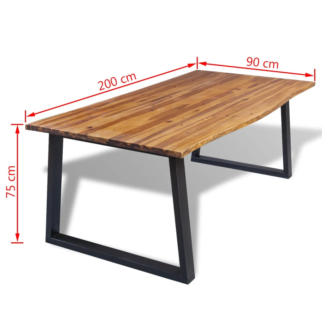 Dining Table Solid Acacia Wood 200x90x75 cm 7