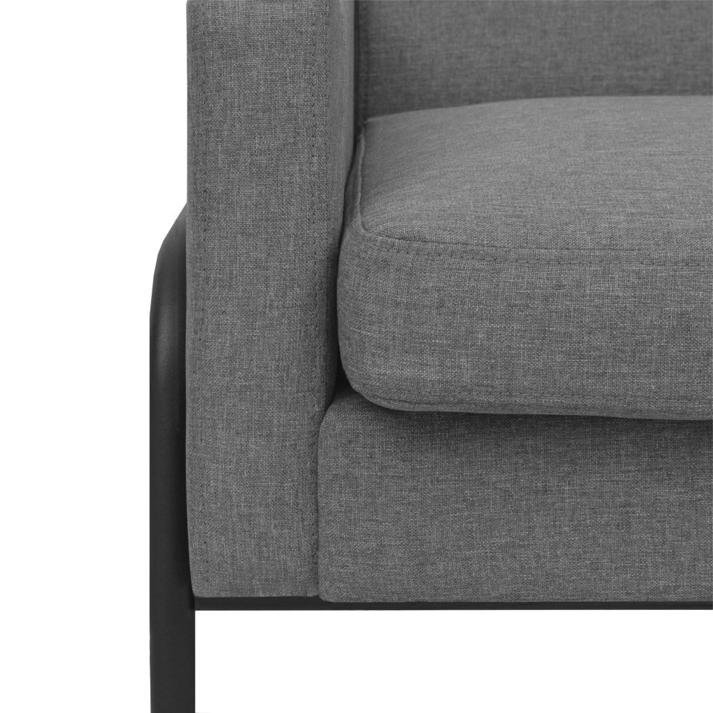 Armchair Light Grey Steel and Fabric 4
