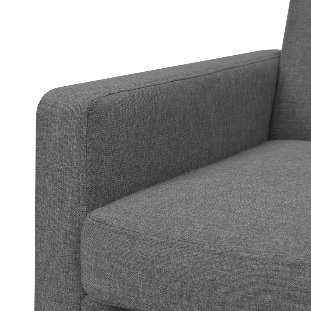 Armchair Light Grey Steel and Fabric 5