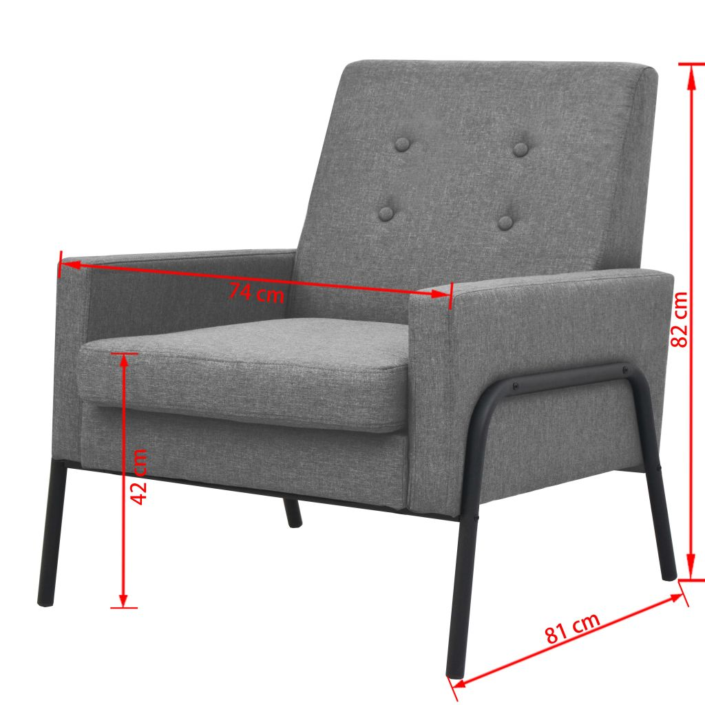 Armchair Light Grey Steel and Fabric 6