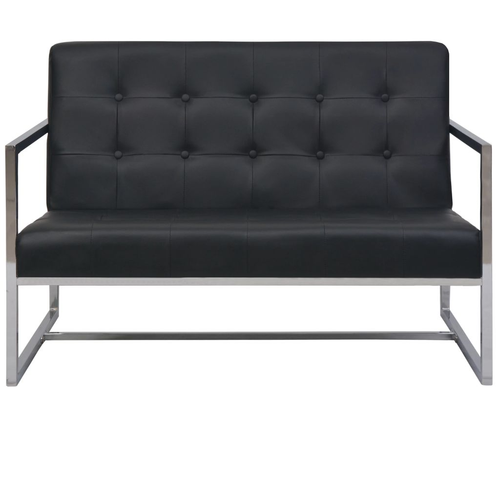 2-Seater Sofa with Armrests Artificial Leather and Steel Black 4
