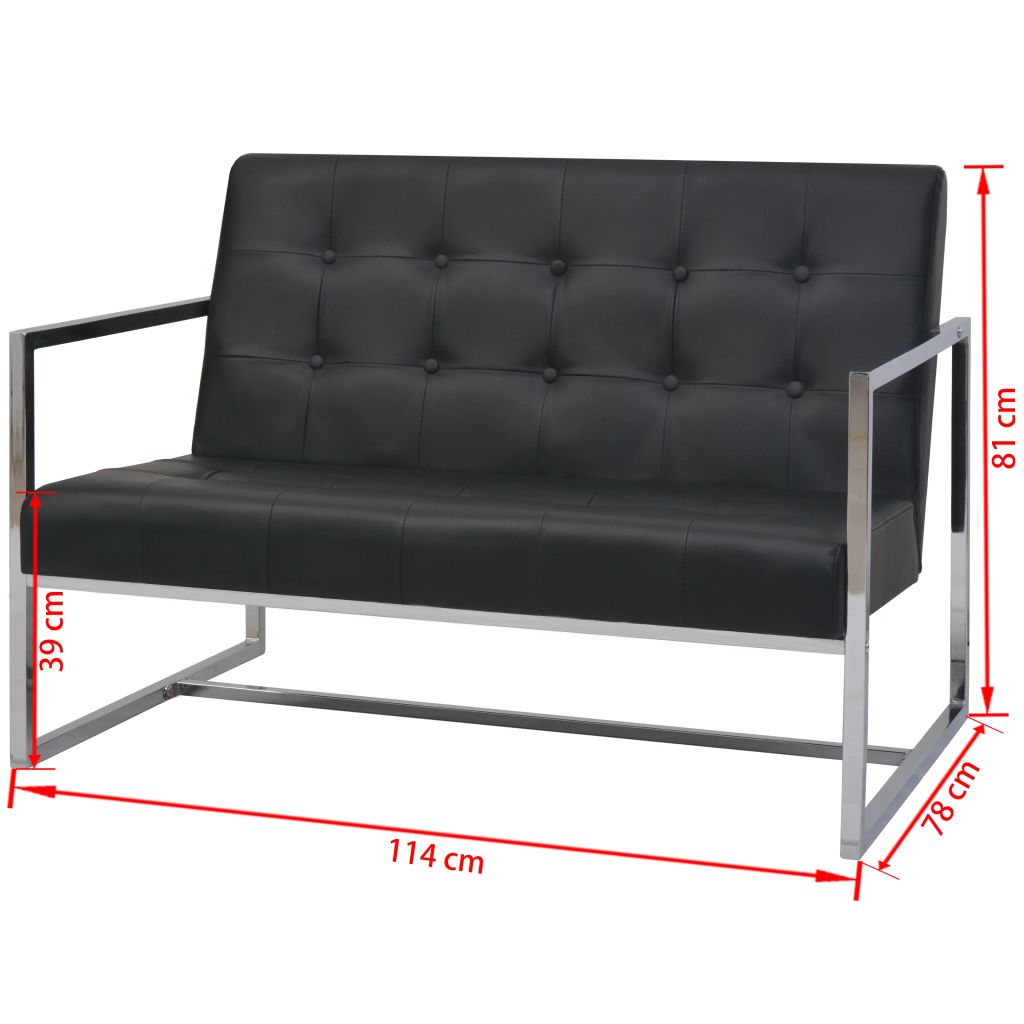 2-Seater Sofa with Armrests Artificial Leather and Steel Black 6