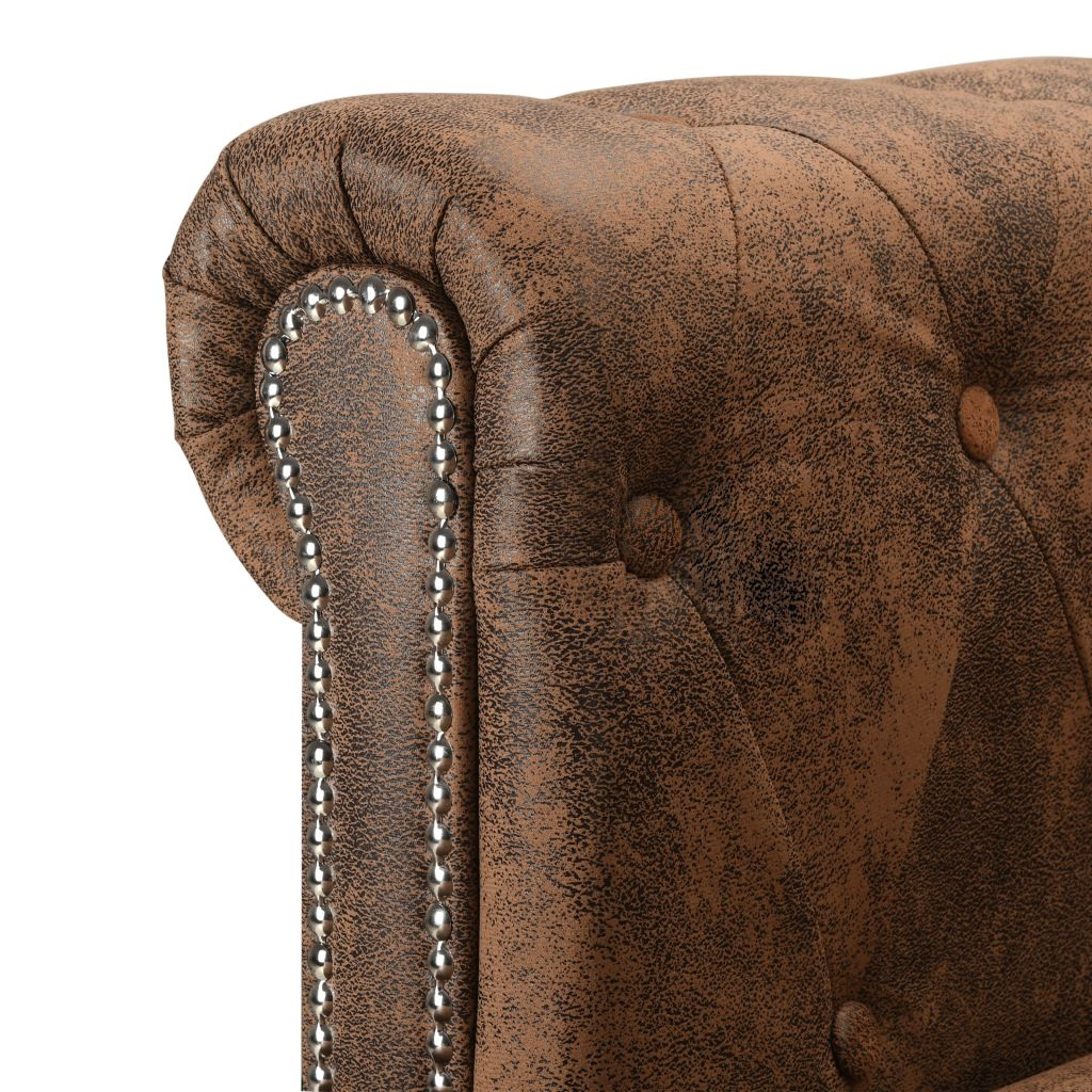 L-shaped Chesterfield Sofa Artificial Suede Leather Brown 5