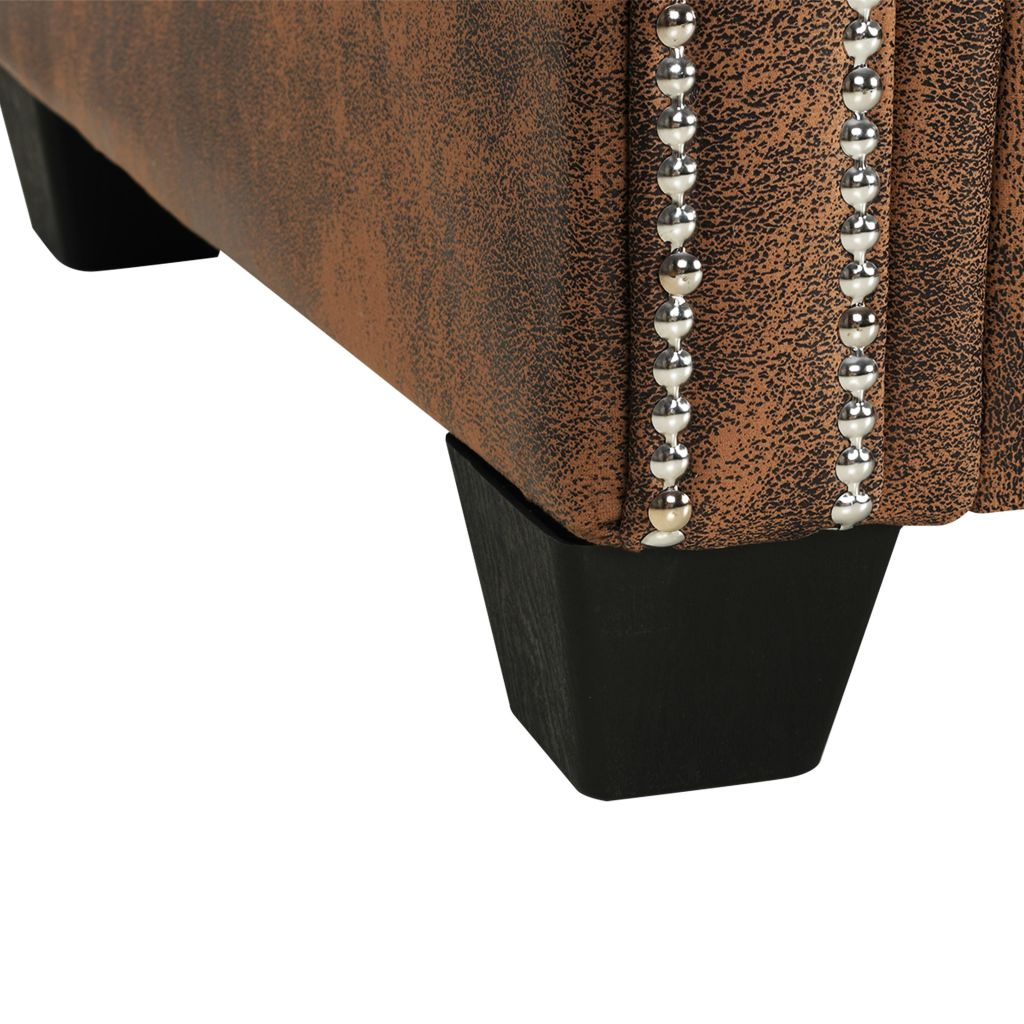 L-shaped Chesterfield Sofa Artificial Suede Leather Brown 6