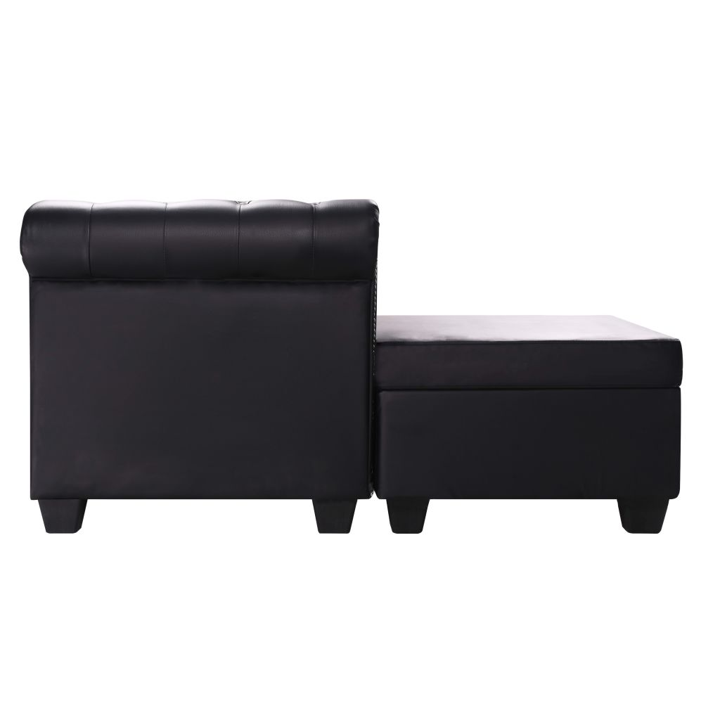 L-shaped Chesterfield Sofa Artificial Leather Black 3