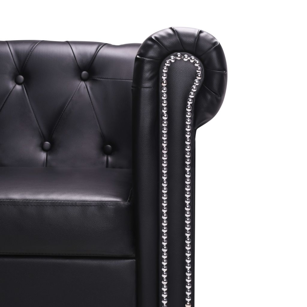 L-shaped Chesterfield Sofa Artificial Leather Black 5