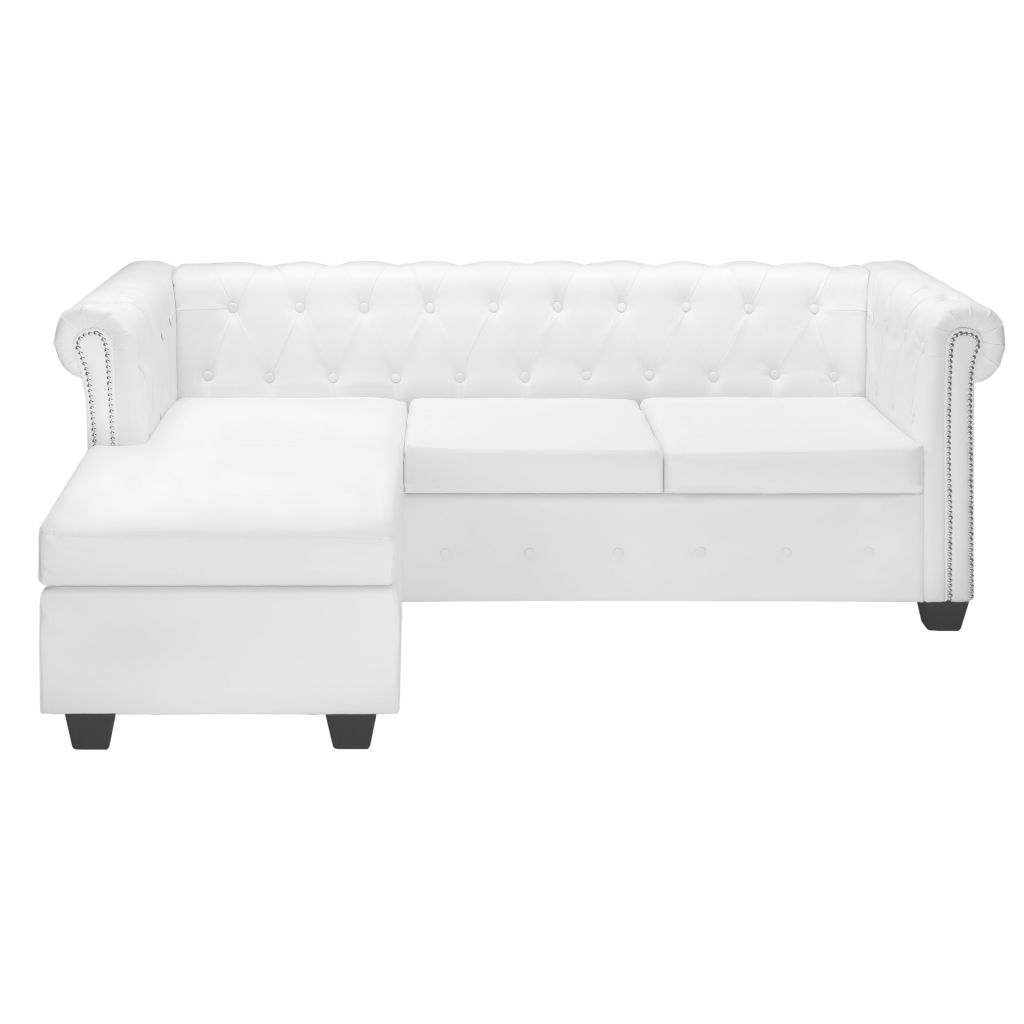 L-shaped Chesterfield Sofa Artificial Leather White 2