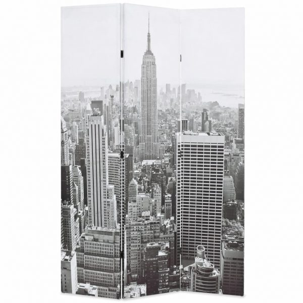 Folding Room Divider 120×180 cm New York by Day Black and White 1