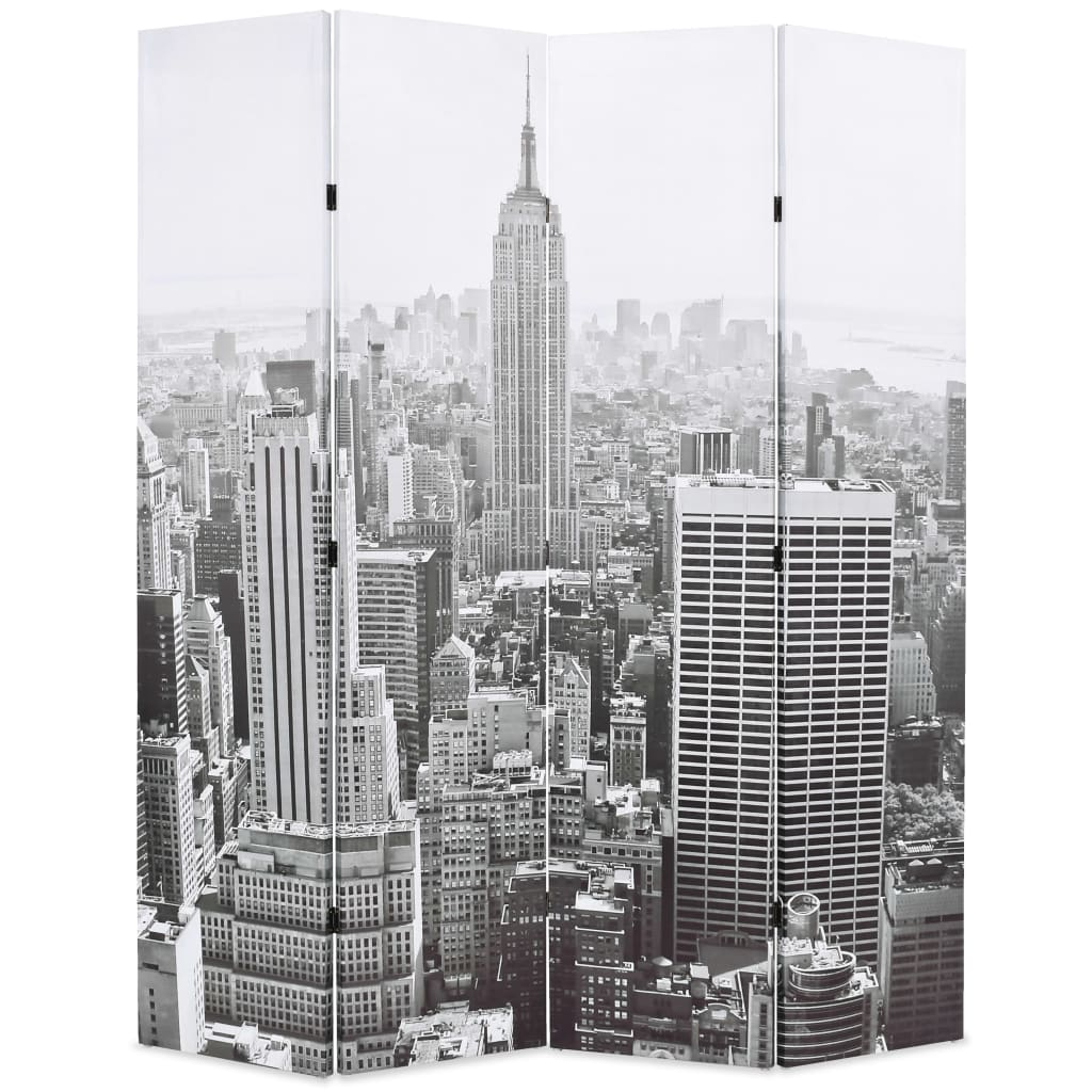 Folding Room Divider 160x180 cm New York by Day Black and White