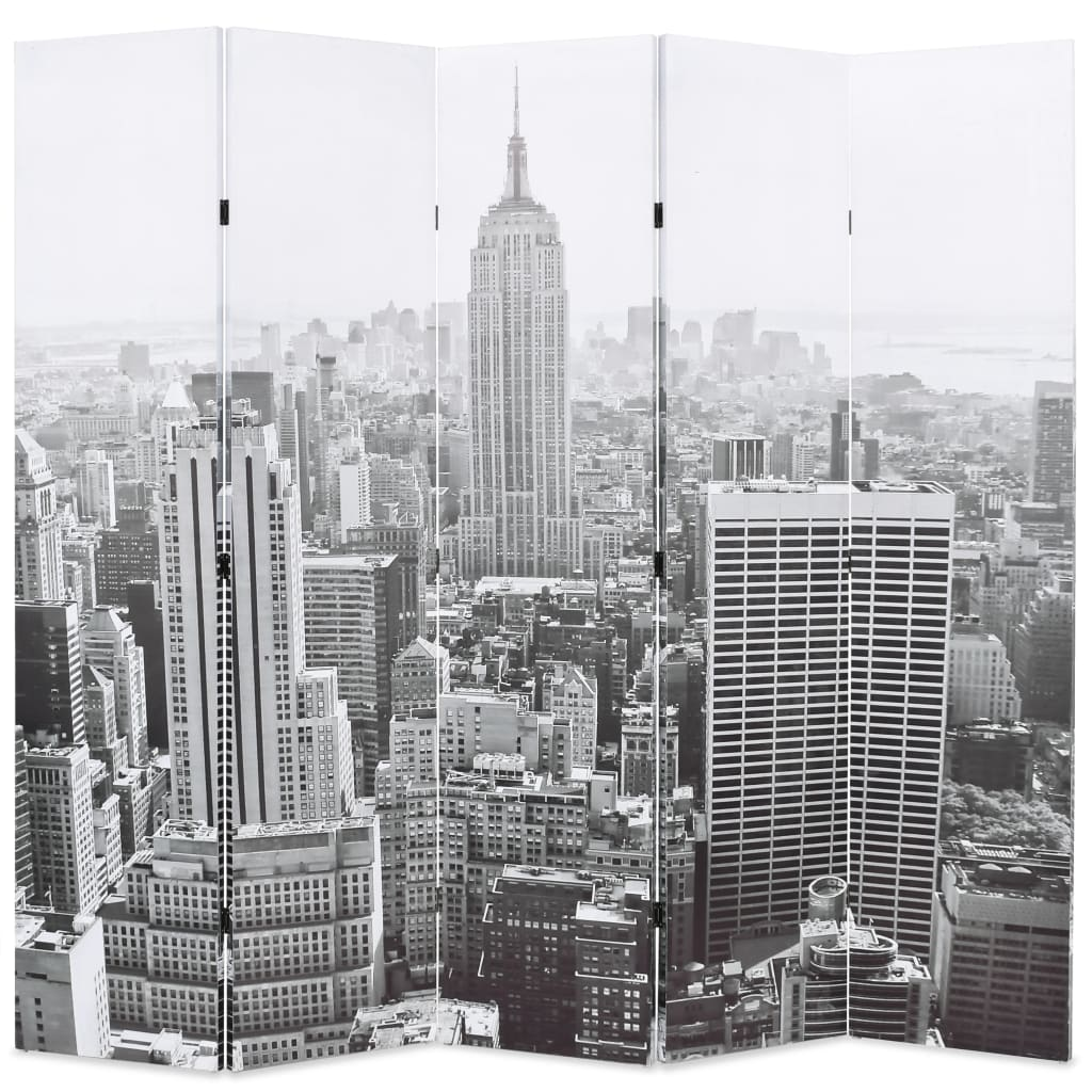 Folding Room Divider 200×180 cm New York by Day Black and White 1