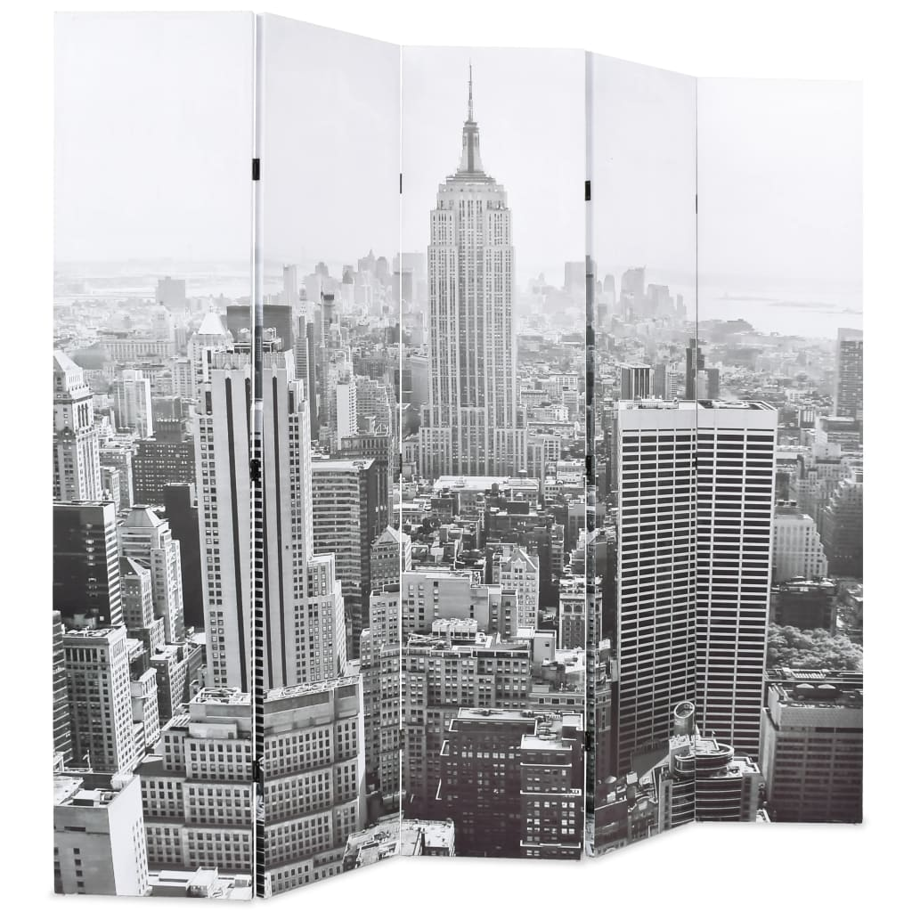 Folding Room Divider 200×180 cm New York by Day Black and White 3