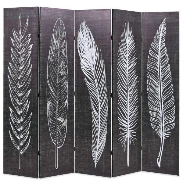 Folding Room Divider 200×170 cm Feathers Black and White 1
