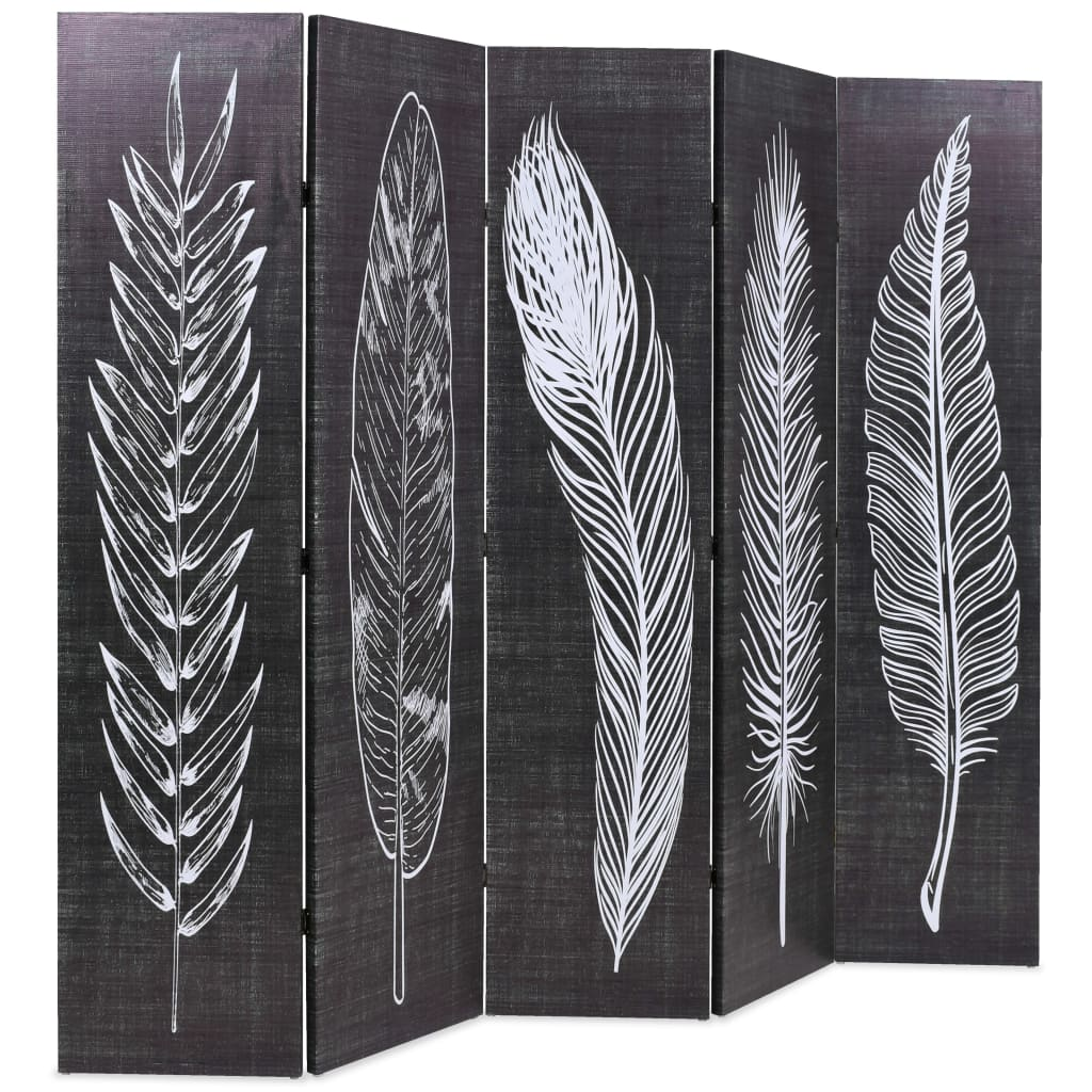Folding Room Divider 200×170 cm Feathers Black and White 3