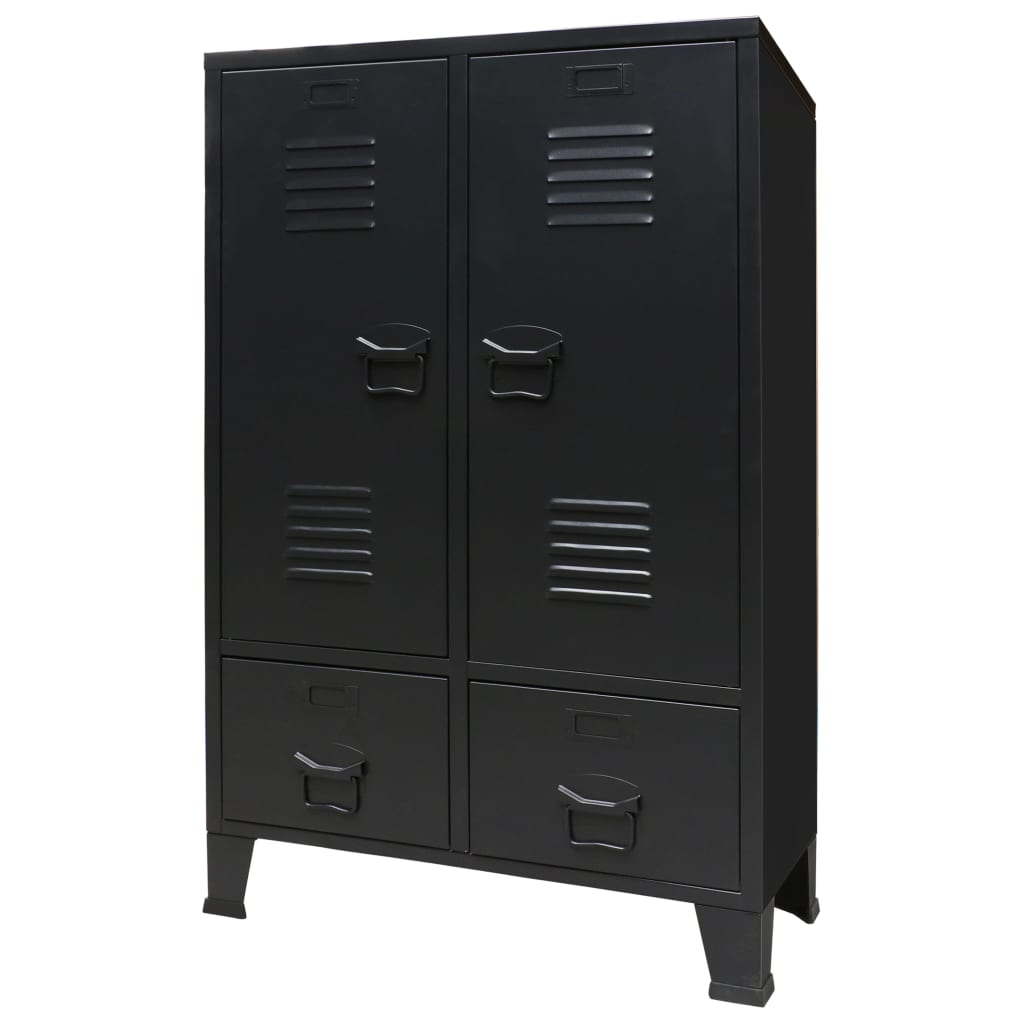 Wardrobe Metal Industrial Style 67x35x107 cm Black 1
