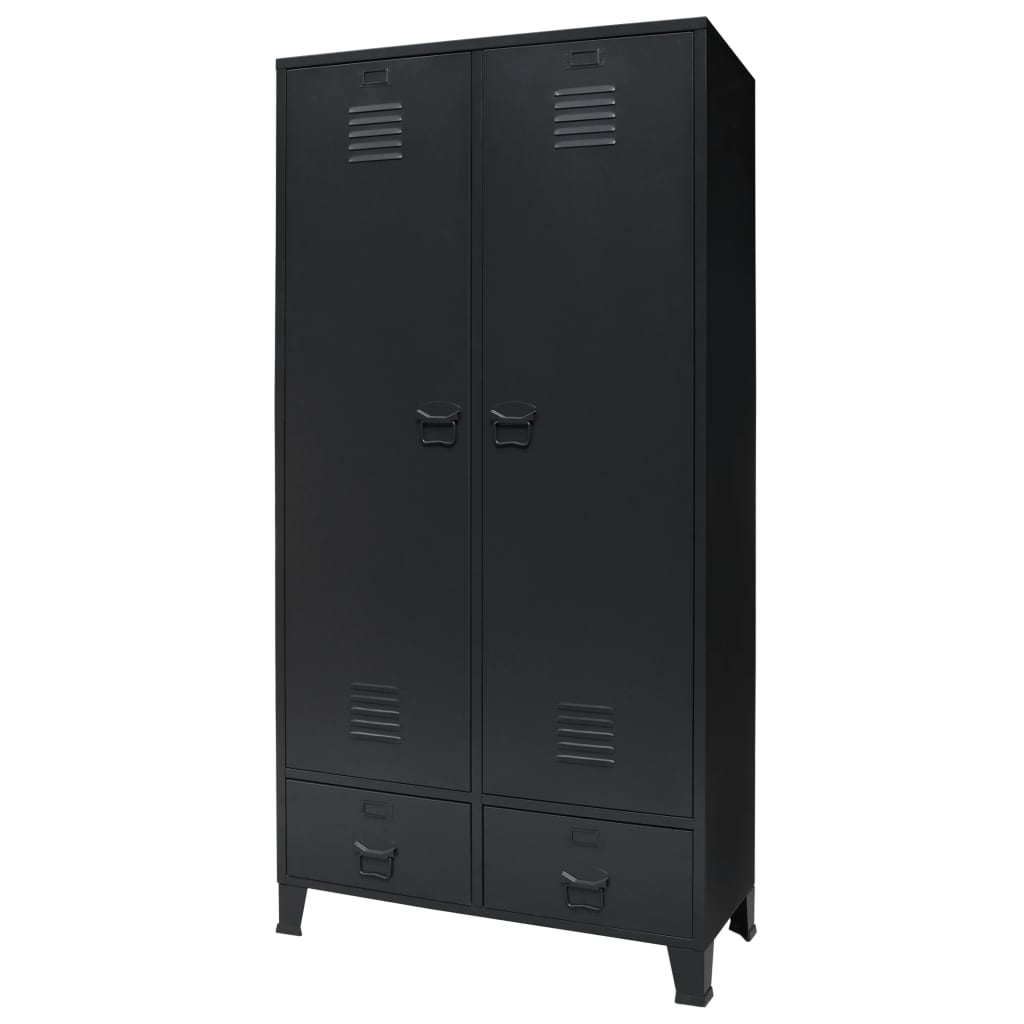 Wardrobe Metal Industrial Style 90x40x180 cm Black 1