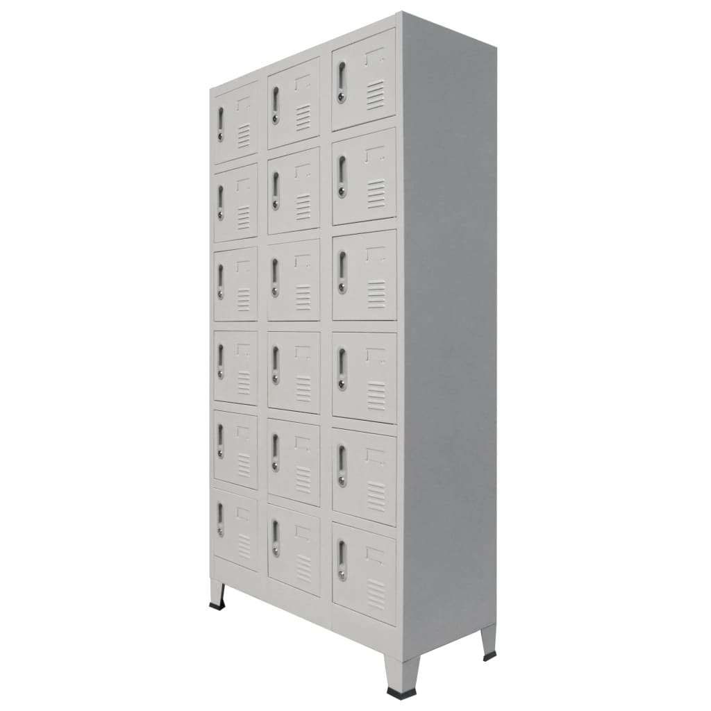 Locker Cabinet with 18 Compartments Metal 90x40x180 cm 1