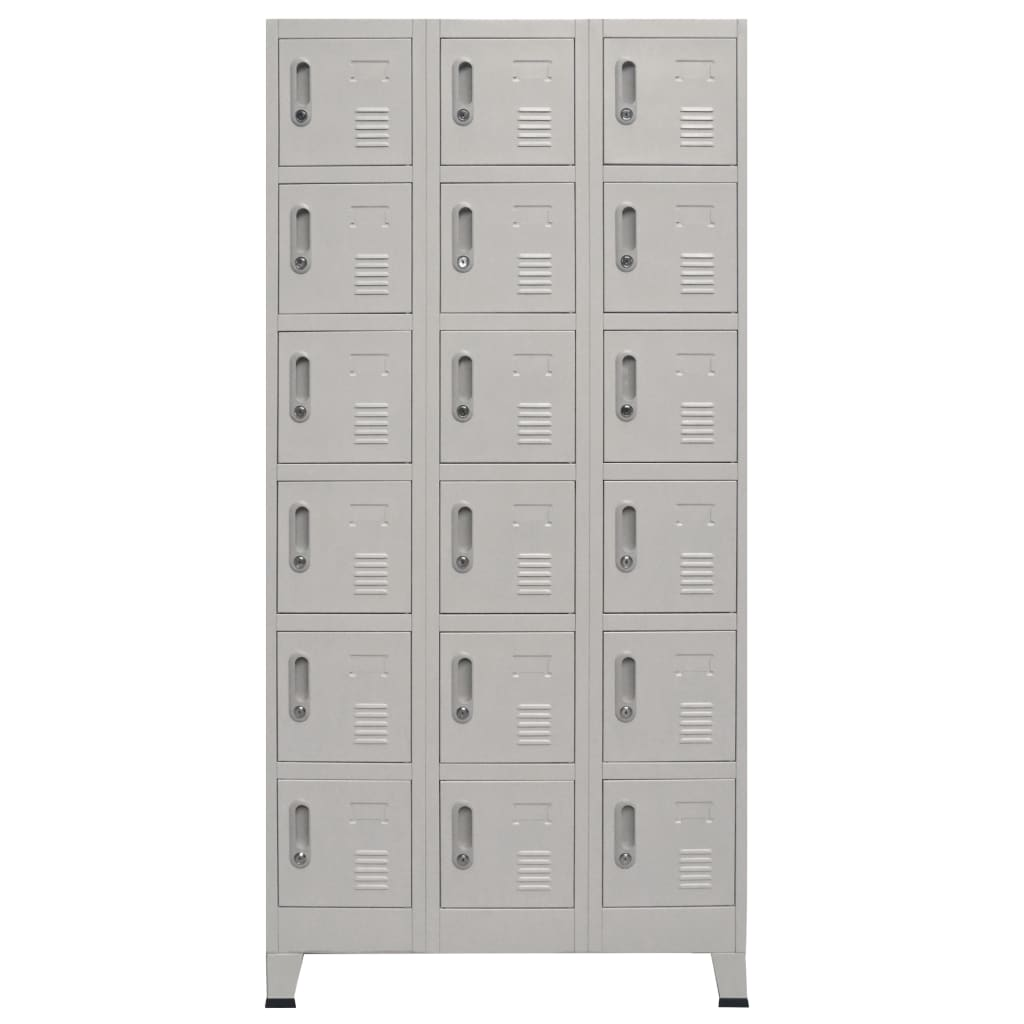 Locker Cabinet with 18 Compartments Metal 90x40x180 cm 3