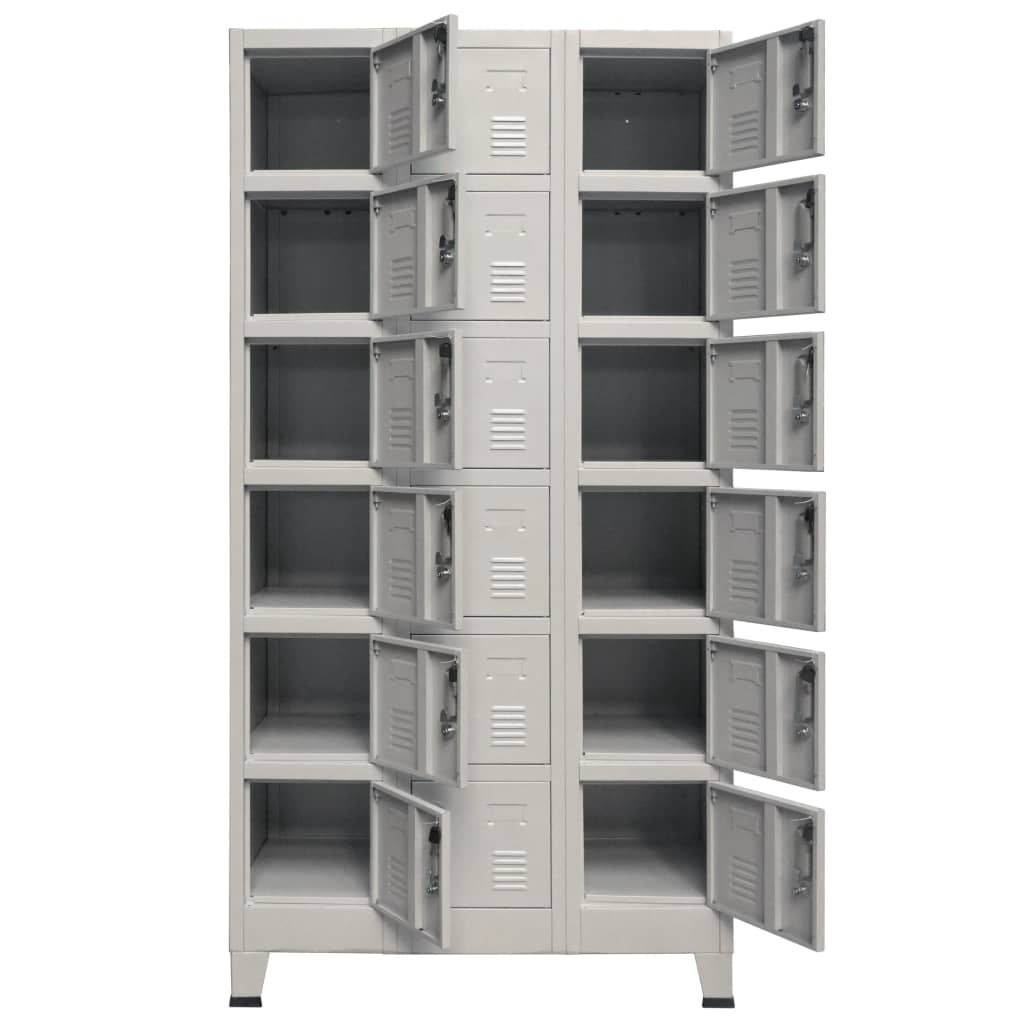 Locker Cabinet with 18 Compartments Metal 90x40x180 cm 4