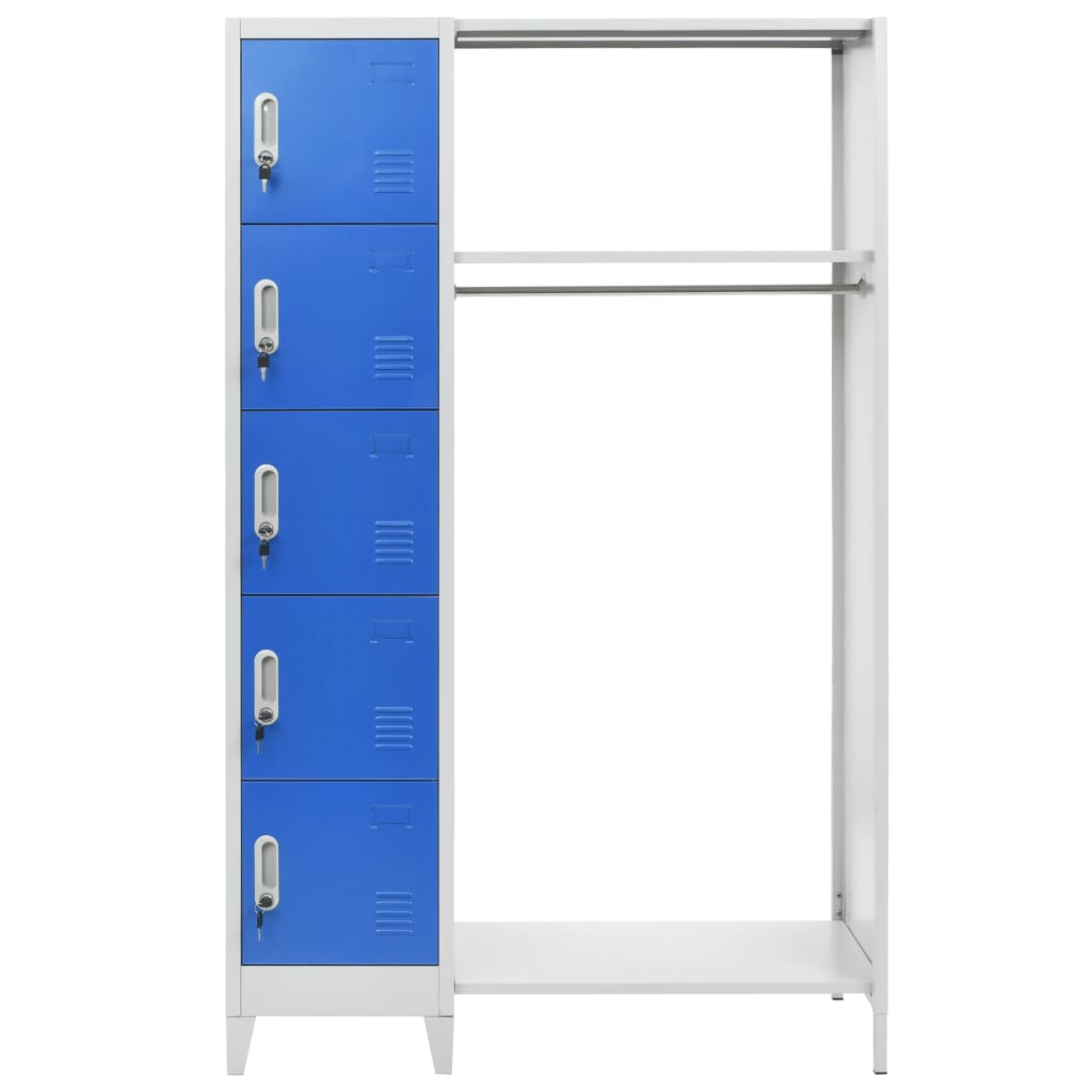 Locker Cabinet with Coat Rack Blue and Grey 110x45x180 cm Metal 3