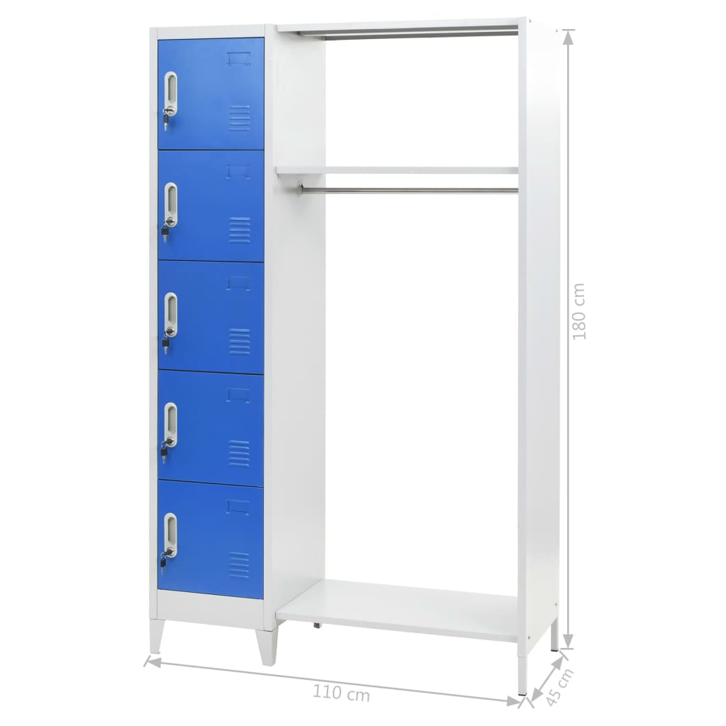Locker Cabinet with Coat Rack Blue and Grey 110x45x180 cm Metal 7