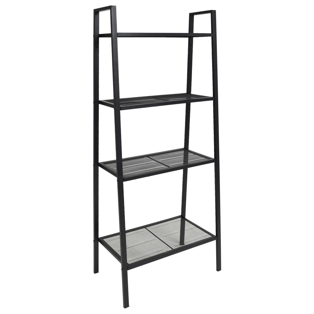 Ladder Bookcase 4 Tiers Metal Black