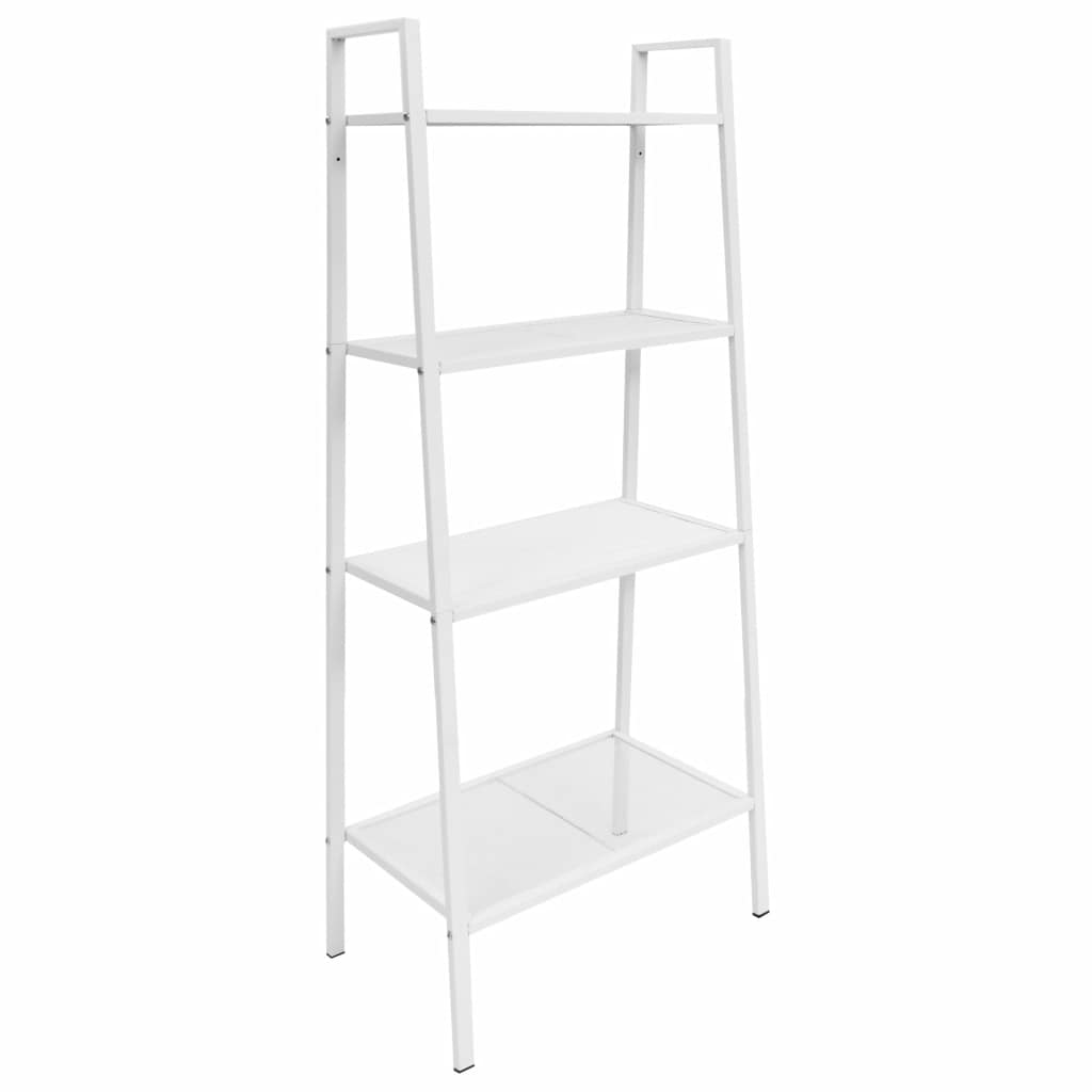 Ladder Bookcase 4 Tiers Metal White