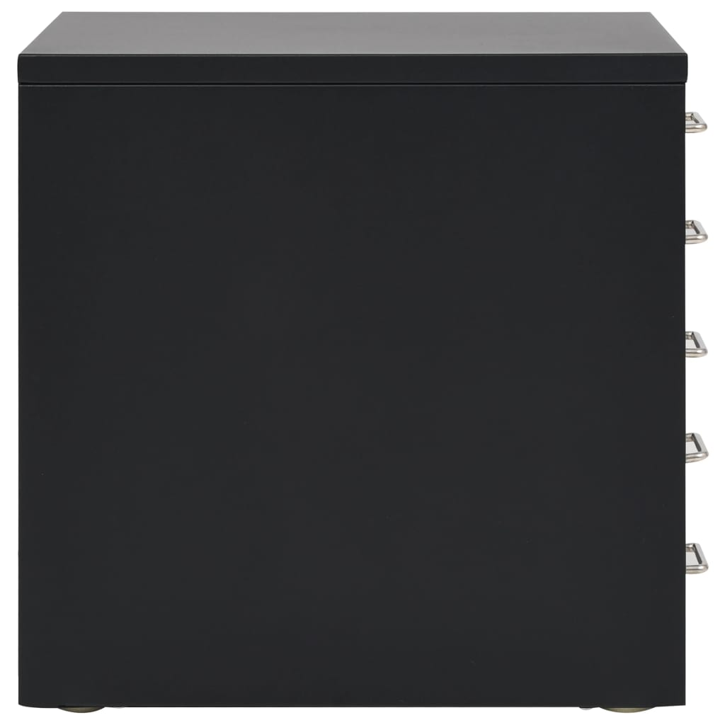 Filing Cabinet with 5 Drawers Metal 28x35x35 cm Black 5