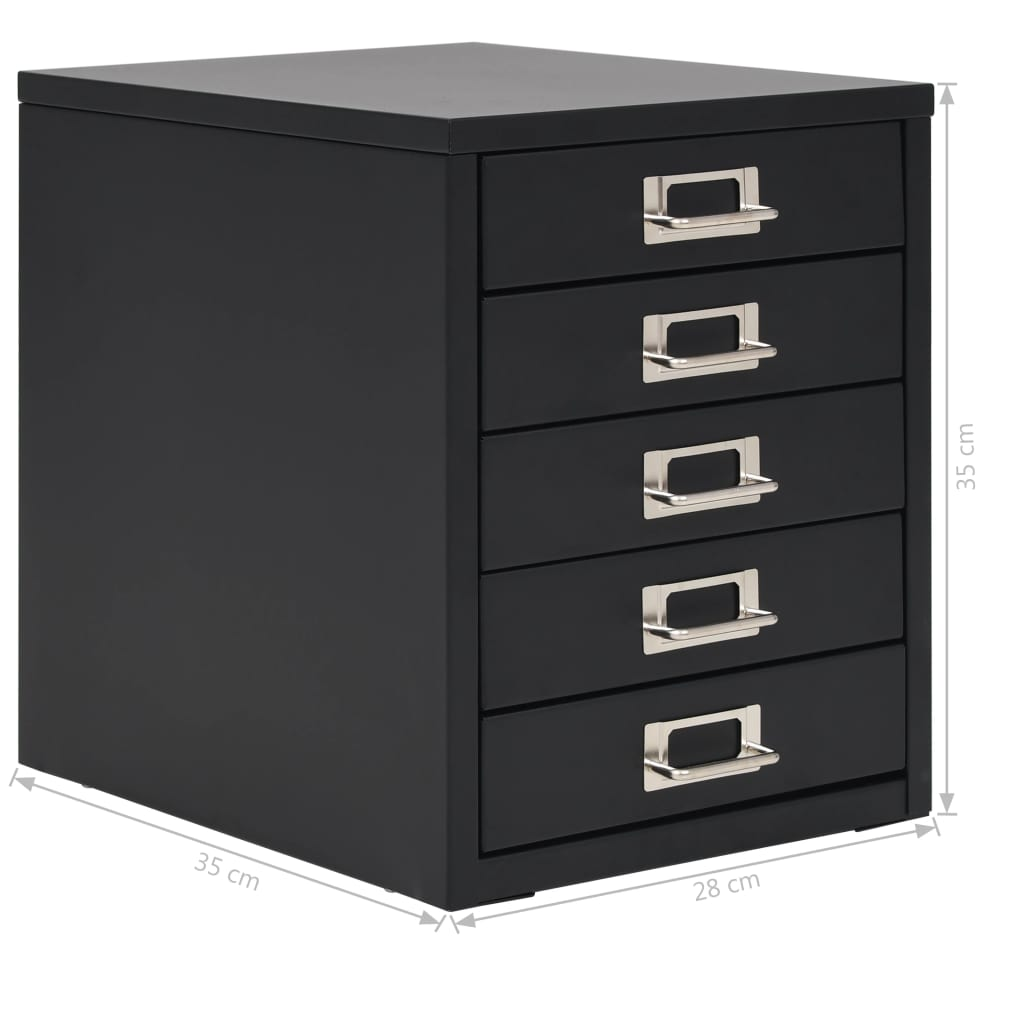 Filing Cabinet with 5 Drawers Metal 28x35x35 cm Black 9