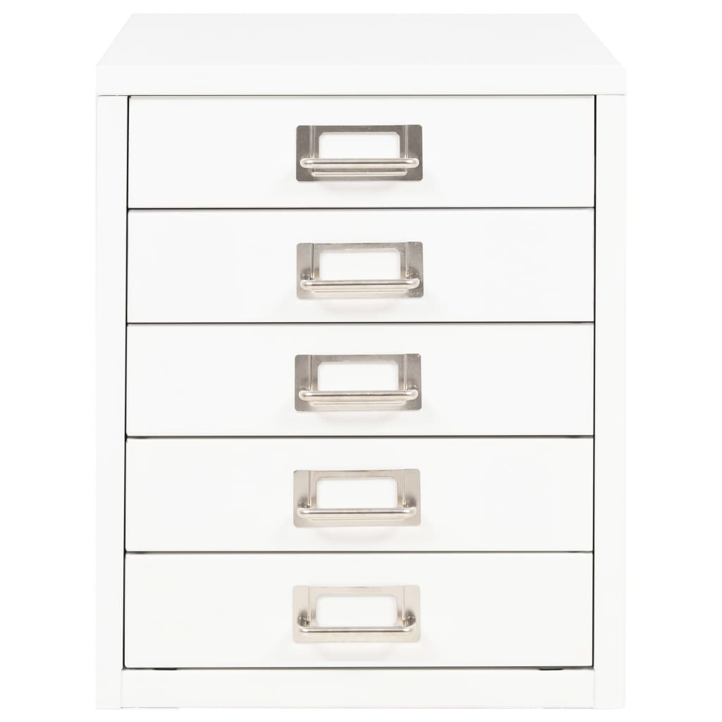 Filing Cabinet with 5 Drawers Metal 28x35x35 cm White 2