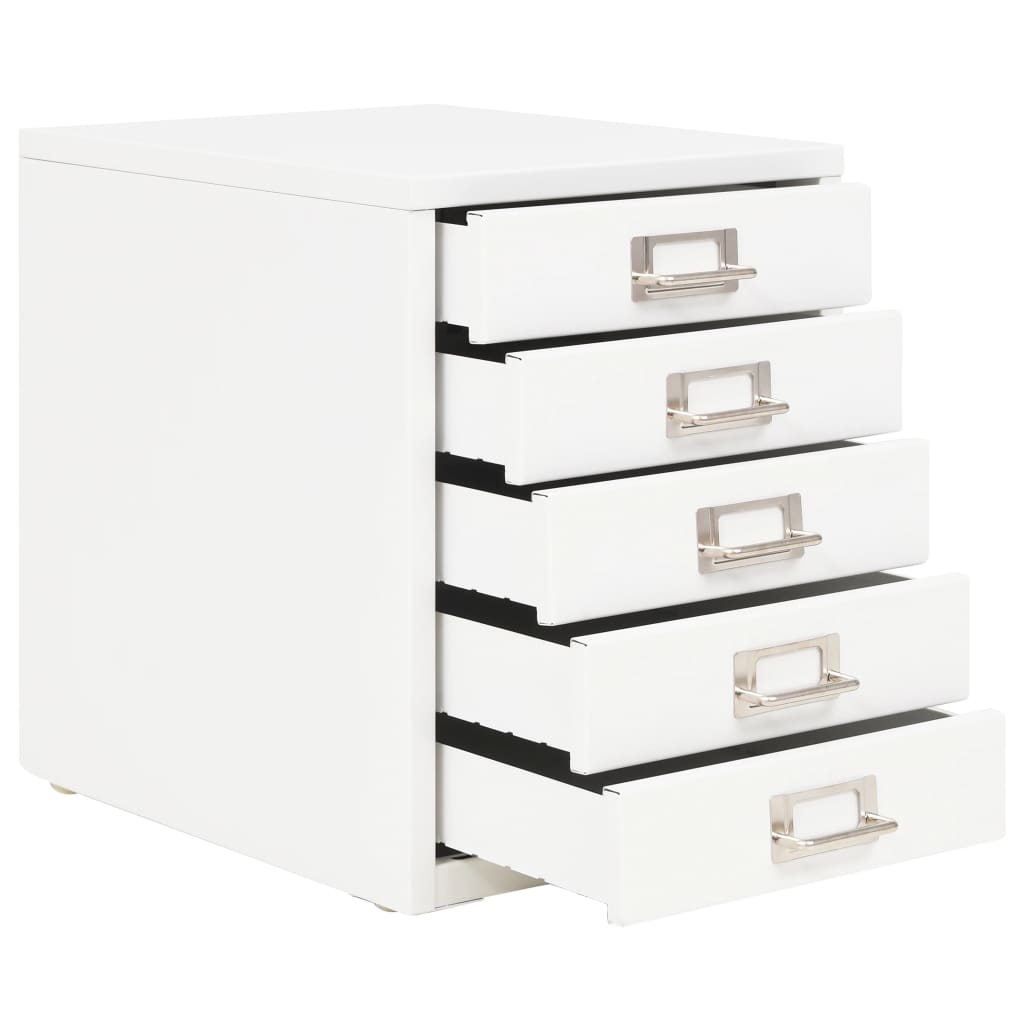 Filing Cabinet with 5 Drawers Metal 28x35x35 cm White 3