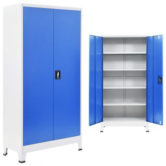 Office Cabinet Metal 90x40x180 cm Grey and Blue 1