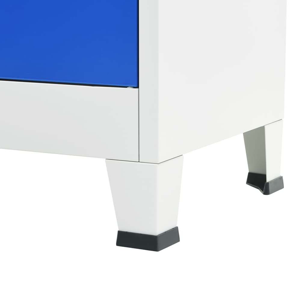 Office Cabinet Metal 90x40x180 cm Grey and Blue 2